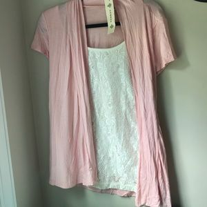 Professional white lace top w/ pink attached coat